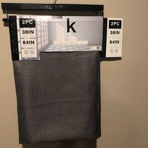 "Blackout drapery two-piece curtains 84"" Dark gray"